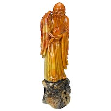 Chinese Soapstone Carving of Immortal Shou Lao God of Longevity with his Peach circa 1900