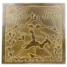 Stamped Bronze/Brass Art Deco bookends with Rider on a Goat circa 1930