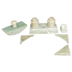Chinese Green Incised Soapstone Inkwell and Desk Set early 20th century