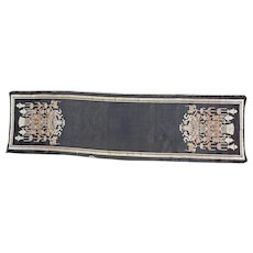 Chinese long Altar Table Black Silk Tapestry Eight Precious Objects circa 1930