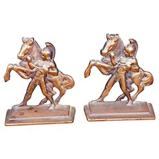 Pair of Bookends of Roman Horseman by Littco Iron circa 1928