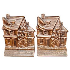 Pair of Betsy Ross House Bookends circa 1935
