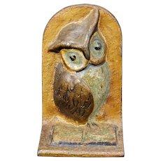 Single Owl Iron Bookend Circa 1925