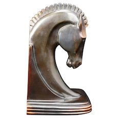 Single Deco Horse Head Bookend by Dodge Circa 1930