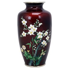 Japanese Cloisonné Vase with Ginbari Red Ground - 20th Century
