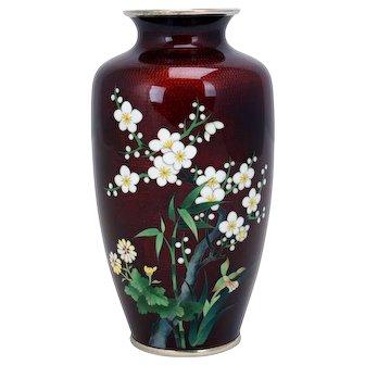 Japanese Cloisonné Vase with Ginbari Red Ground - 20th Century