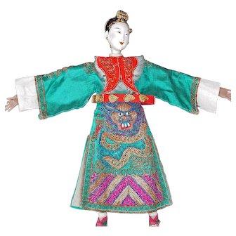 Chinese Peking Opera Doll with Green Dragon Robe