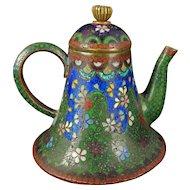 Japanese Cloisonné Teapot Meiji Period Circa 1900