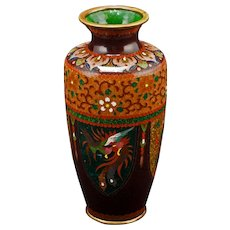 Japanese Cloisonné Vase with Dragons and Phoenixes Meiji Period Circa 1900
