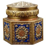 Chinese Hexagonal Enameled Copper and Brass Box Circa 1900