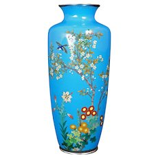 Japanese Cloisonné Vase with Flowers and a Bird Meiji Period