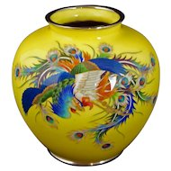 Large Japanese Yellow Wireless Cloisonné Vase Early 20th Century Showa Period