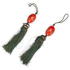 Vintage Pair of Japanese Glass Faux Carnelian Scroll Weights with Green Tassels