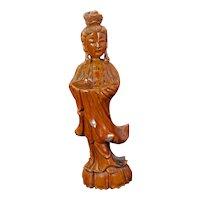 Vintage Chinese Hardwood Carving Guanyin Circa 1930