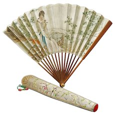 Vintage Chinese Silk Fan Case and Painted Paper Fan Circa 1935