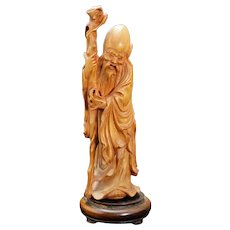 Vintage Chinese Boxwood Carving of Shoulao c 1950