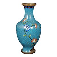 Chinese Turquoise Cloisonné Vase Republic Period