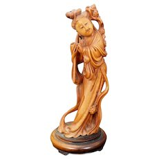 Chinese Boxwood Carving of Guanyin Circa 1940