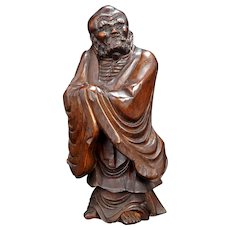 Chinese Hard Wood Carving of a Bodhidharma or Buddhist Sage Republic Period