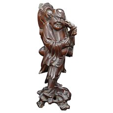 Vintage Mid-century Chinese Wood Carving of Daoist Immortal Shao lo