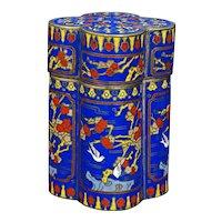 Vintage Chinese cloisonné Quatrefoil Tea Caddy Prunus Design 20th C
