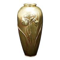 Japanese Bronze Vase Iris Design circa 1930