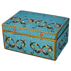 Vintage Chinese Republic Cloisonné Box with Arabesque Design