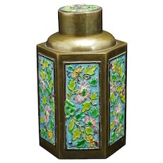 Vintage Chinese Enameled Brass Tea Caddy Republic Period