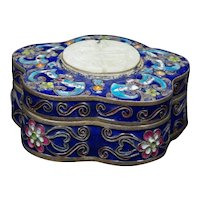 Chinese Enamel Copper Box with Soapstone Shou Republic Period