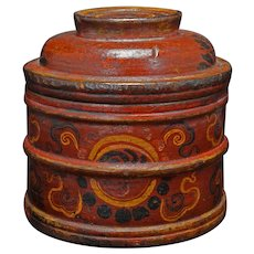 Vintage Tibetan Lidded Wood and Lacquer Box