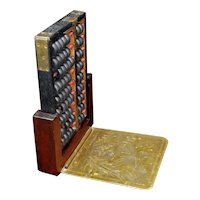 Vintage Hong Kong Chinese Abacus with Brass and Wood Stand