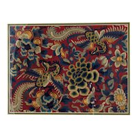 Framed Chinese Republic Era Silk Gold Thread Phoenix Embroidery Panel
