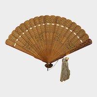 Framed Chinese Republic Period Pierced Carved Sandalwood Fan
