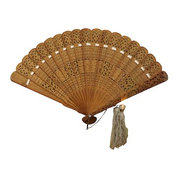 Framed Chinese Republic Period Pierced Carved Sandalwood Fan