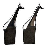Mid-century Dansk Designs Pair of Giraffe Zinc Electroplate Paperweights