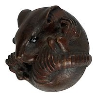 Japanese Carved Resin Mouse Netsuke Showa Period