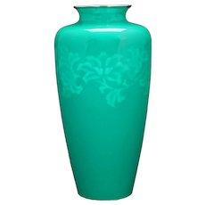 """Mid-century Japanese Ando Jubei Wireless Scrollwork 9 5/8"""" Vase"""