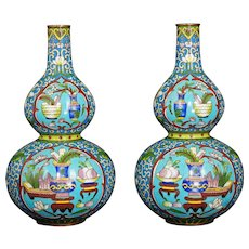 Vintage Mirror Pair of Chinese Gourd Shaped Cloisonné Vases 20th C
