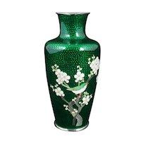 Mid-Century Japanese Ginbari Cloisonné Vase Metallic Foil Circa 1950
