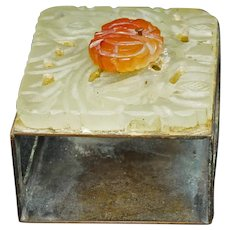 Chinese Republic Period Carved Carnelian and Hardstone Matchbox Holder
