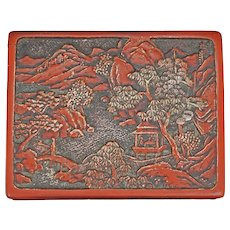 Chinese Republic Era Cinnabar Lacquer Box with Landscape