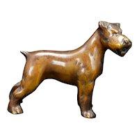 Deco Bronze Terrier Cast Figure Circa 1930's