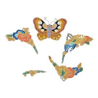 Vintage Chinese Qing Five Silk Embroidered Appliques with Satin and Forbidden Stitch