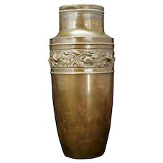 Art Deco Copper Vase with Floral Band and Bronze Patina Circa 1930