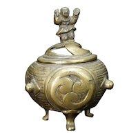 Vintage Japanese Bronze Censer with Drum Motif