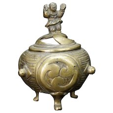 Vintage Japanese Bronze Censer with Drum Motif