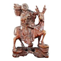 Chinese Republic Wood Carving Deer and Immortal