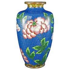 "Chinese Republic 8 1/2"" tall Cloisonné Peony Vase Circa 1920"
