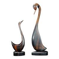 Pair of Mid Century Hawaiian Duck or Swan Souvenirs Circa 1960's
