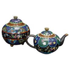 Japanese Cloisonné Creamer and Sugar Bowl Meiji Period